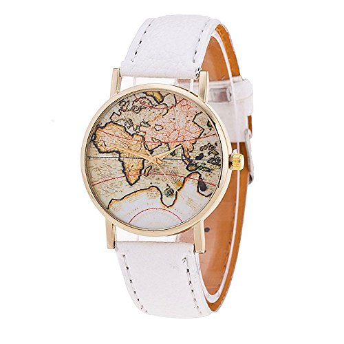 Unisex Watch Quartz Wristwatch World Map Leather Band 1 - 8