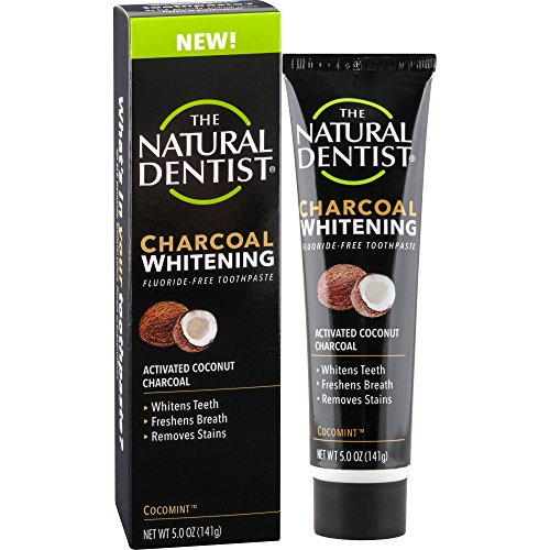 The Natural Dentist Charcoal Whitening Fluoride-Free Toothpaste Cocomint 5 Ounce Tube Safe to Use Every Day Activated Coconut Charcoal Toothpaste for Naturally White Teeth Bleach-Free Teeth White