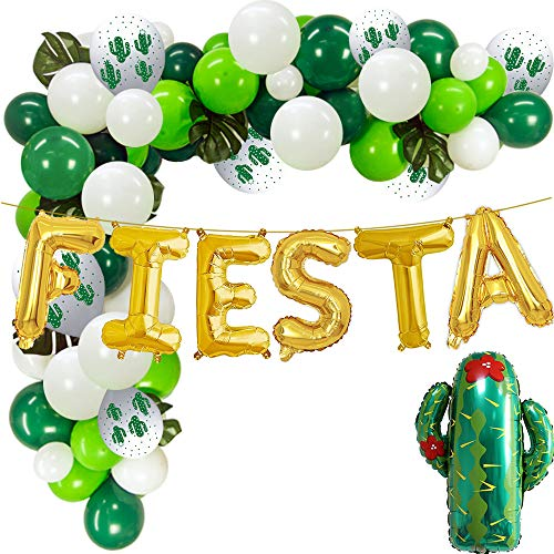 Gold Fiesta Foil Balloons - Green White Latex Balloons with Cactus Balloons for Mexican Fiesta Party -