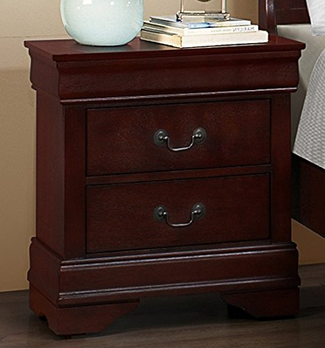 (Roundhill Furniture Isola Louis Philippe Style Fully Assembled Wood Night Stand, Cherry)