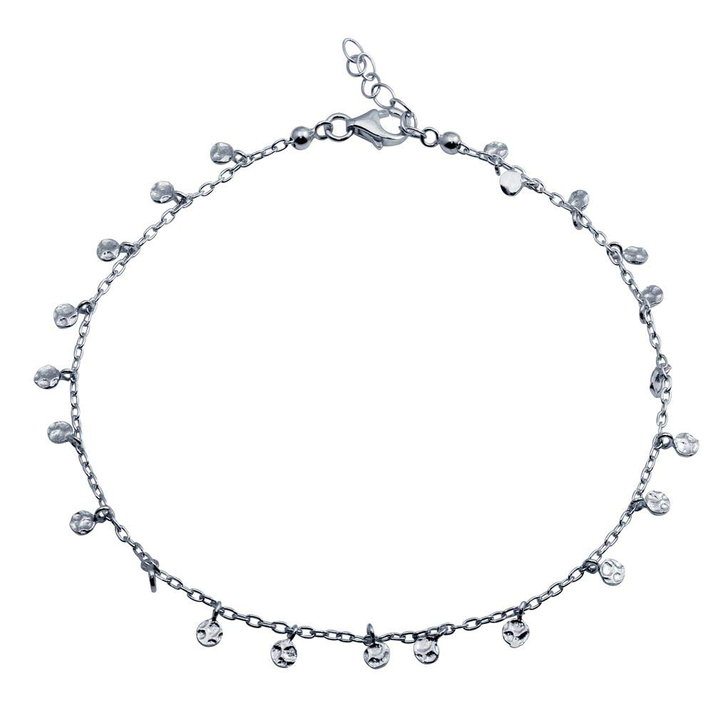 CloseoutWarehouse Rhodium Plated Sterling Silver Confetti Anklet