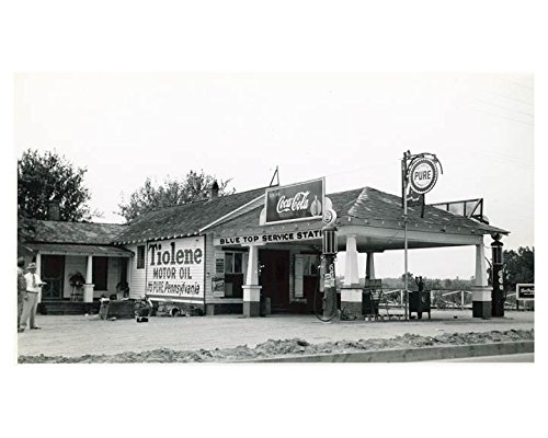 1941 Pure Oil Gas Station Photo Poster Goldsboro NC Gas Globe Coca Cola from AutoLit