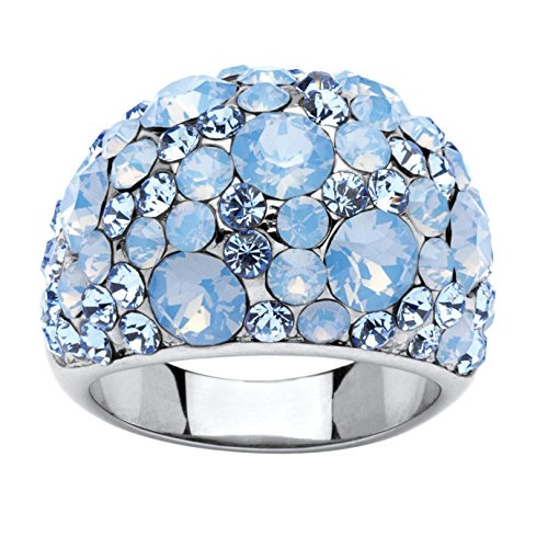 Stainless Steel Blue and Aurora Borealis Dome Ring Made with Swarovski Elements (Bold Dome Ring)