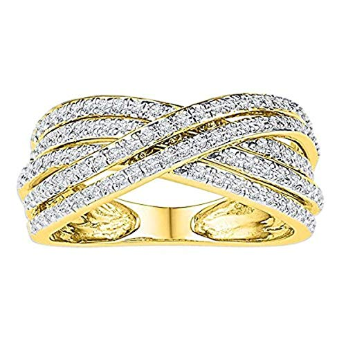 - Roy Rose Jewelry Ladies Diamond Crossover Five Row Band Ring 5/8 Carat tw ~ Size 7, in 10K Yellow Gold from