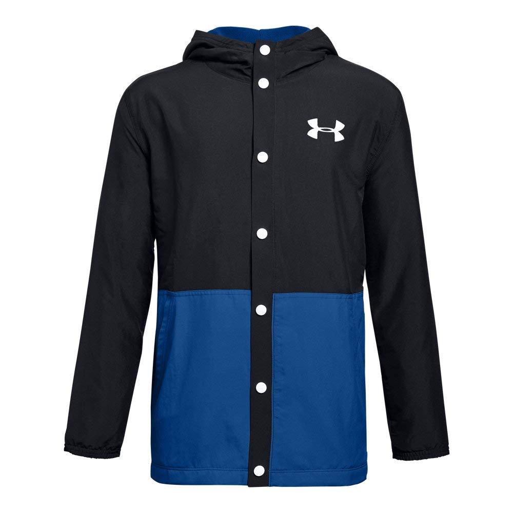Under Armour Boys Phenom Coaches Jacket, Black (001)/White, Youth Large