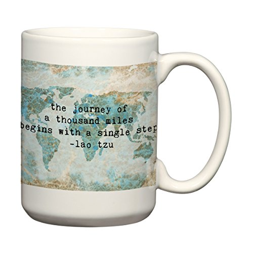 The Journey of a Thousand Miles Begins with a Single Step World Map Coffee Mug Travel Quote 15 oz Mug