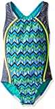 Speedo Girls Digi Zig Zag Heather Sport Splice One Piece Swimsuit, Blue, Size 10