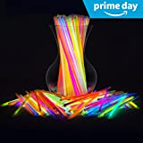 """PartySticks Glow Sticks Bulk 300 Count -  8"""" Brand Premium Glow In The Dark Light Sticks - Makes Tons of Glow Necklaces and Glow Bracelets (3 Tubes of 100)"""