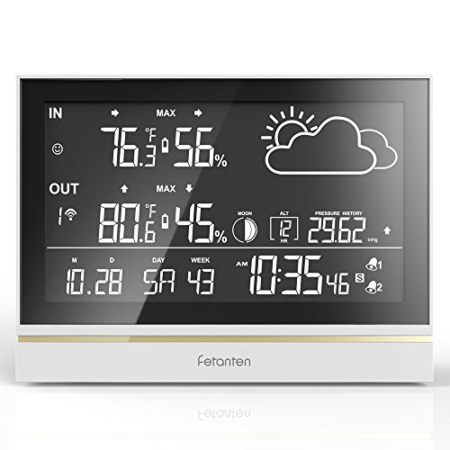 Fetanten Wireless Indoor / Outdoor Weather Station Forecaster ,Barometer and Moon Phase,Temperature and Humidity Monitor with Temperature Alert, Dual Alarm and Snooze , Huge Display