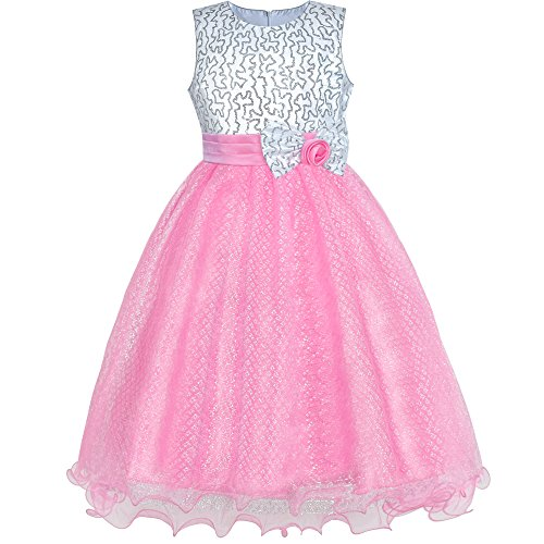 Sunny Fashion Flower Girls Dress Pink Sequin Wedding Party Bridesmaid Size 10
