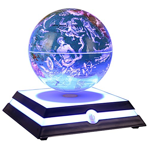 """Floating Globe, Aldeepo Levitating Globe Rotating with World Map and Constellation in 6"""" Magnetic Anti Gravity Globe for Home Office Decoration, Educational Geography Gift for Children (Blue)"""