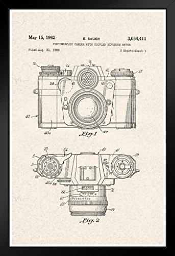 1962 Vintage Picture - Sauer Vintage Camera 1962 Official Patent Diagram Framed Poster 14x20 inch