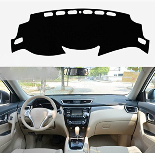 (Salusy Black Dashboard Dash Protector Dash Mat Sun Cover Pad Compatible with Nissan Rogue X-trail 2014 2015 2016 2017 2018 2019/Nissan Rogue Sport SUV 2017 2018 2019)