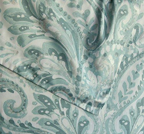 Tahari Home 3pc Duvet Cover Set Paisley Medallion Silver: Tahari Luxurious Bedding Full Queen Duvet Cover Set Large