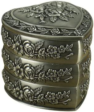 Unendlich U Luxus Synthetik Schmuckkoffer Vintage Style Antique Herz-Form mit schmuckkasten f/ür Damen,Reines Zinn-Schmuckst/ück,Silber