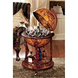 Design Toscano Sixteenth-Century Italian Replica Globe Bar Cart Cabinet on Wheels, 38 Inch, MDF Wood, Sepia Finish