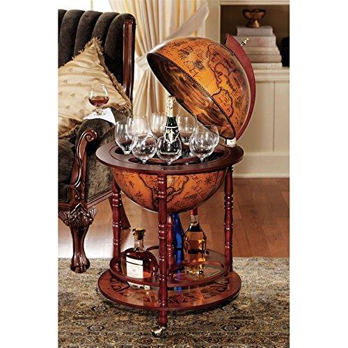 Design Toscano Sixteenth-Century Italian Replica Globe Bar Cart Cabinet on Wheels, 38 Inch, MDF Wood, Sepia Finish ()