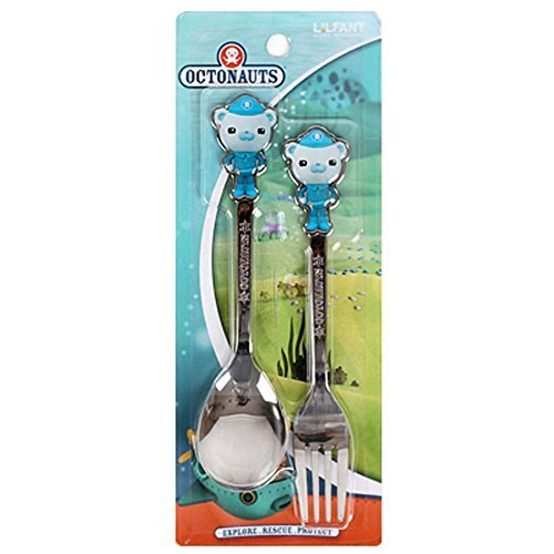 Octonauts Barnacles Stainless Steel Flatware Kids Nursery Safety Spoon and Fork Set -