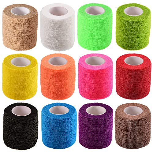 Tongshi Self Adhesive Bandage Elastic Bandage Wrap, 2 Inches X 5 Yards 12 Count (Assorted Colors)