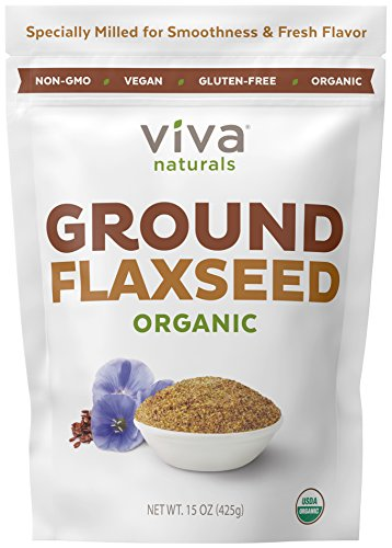 Viva Naturals Organic Ground Flax Seed, 15 oz - Specially Cold-milled Using Proprietary Technology for Optimal Smoothness and Freshness (Best Ground Flaxseed Brand)