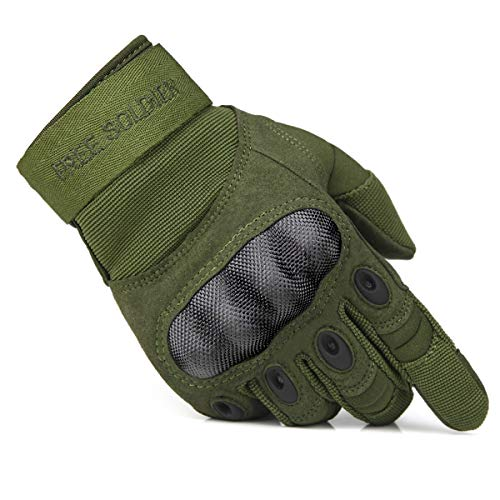 FREE SOLDIER Tactical Gloves for Men Military Hard Knuckle Outdoor Cycling Gloves Armor Gloves(Army Green Large)