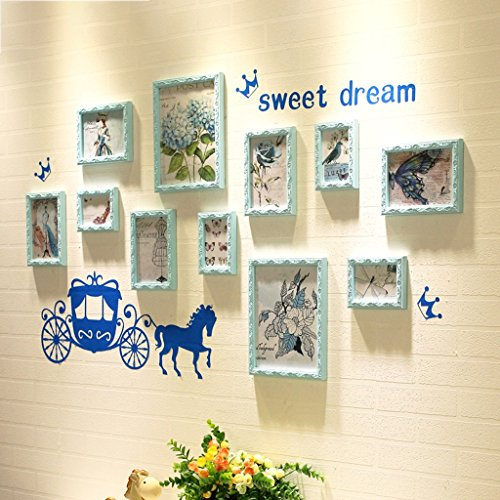 Hyun times Photo wall European style wall clock solid wood carved creative living room bedroom frame combination ( Color : Blue ) by Hyun times Frame wall