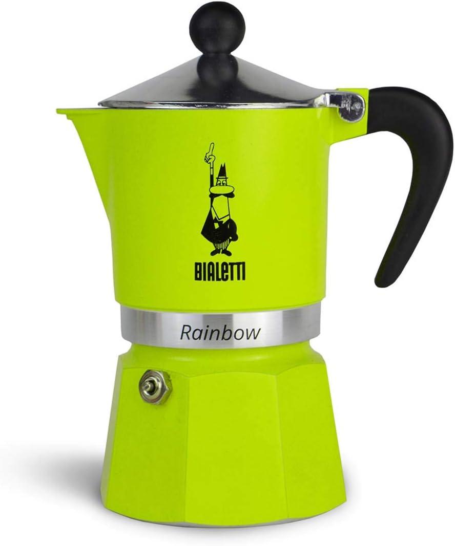Bialetti Rainbow Cafetera Italiana Espresso, 3 Taza, Aluminio, Verde, 3 Tazas: Amazon.es: Hogar