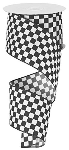 Black and White Check Ribbon, 2.5'' Wide x 10 Yards, Wired Edge by Rustic Pearl Collection
