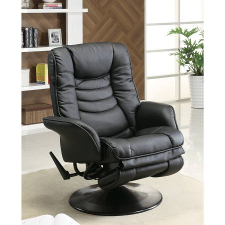 Black Leatherette Cushion Swivel Recliner (Coaster Swivel Recliner in Black Leatherette, It's the perfect fit for that perfect)
