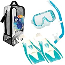 TUSA Sport Youth Mini-Kleio Mask, Snorkel, and Fins Travel Set, Clear Green