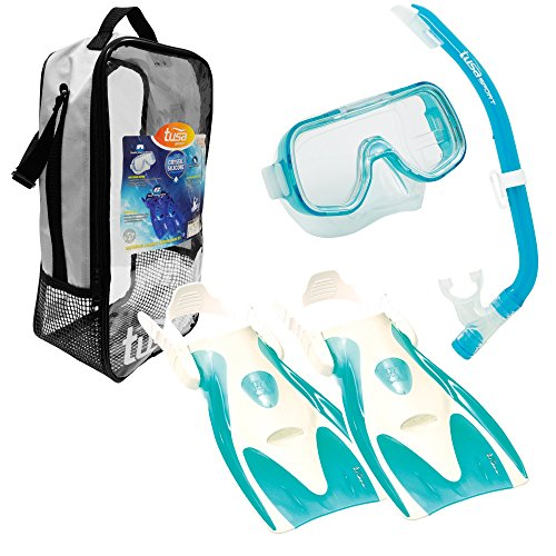 TUSA Sport Youth Mini-Kleio Mask, Snorkel, and Fins Travel Set, Clear Green, Medium