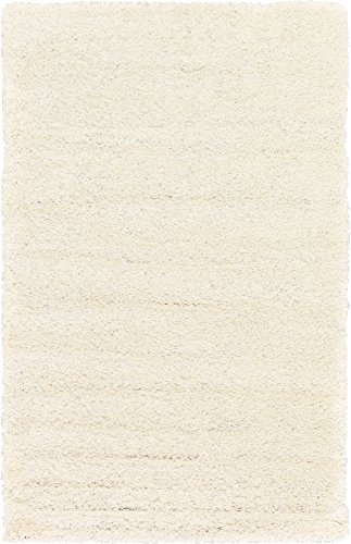 Unique Loom Solo Solid Shag Collection Modern Plush Snow White Area Rug (5' 0 x 8' 0)