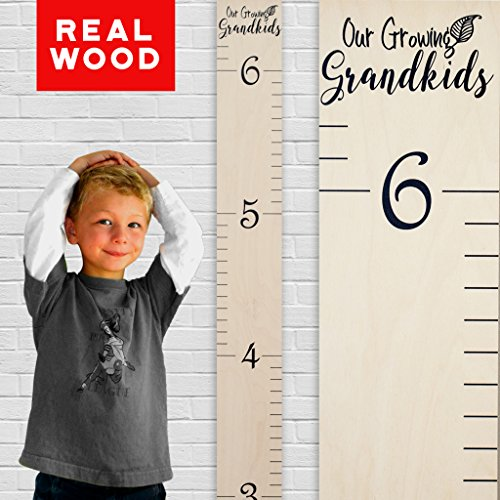 "Growth 1st Birthday Chart (Growth Chart Art | Wooden Height Chart for Kids | Naked Birch Ruler with Calligraphic Design - ""Our Growing Grandkids"" 