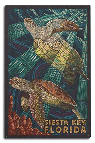 Lantern Press Siesta Key, Florida - Sea Turtle - Mosaic (10x15 Wood Wall Sign, Wall Decor Ready to Hang) -