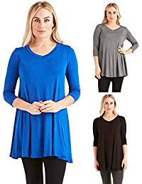 3 Pack: Free to Live Women's V-Neck Loose Flare Fit Long...