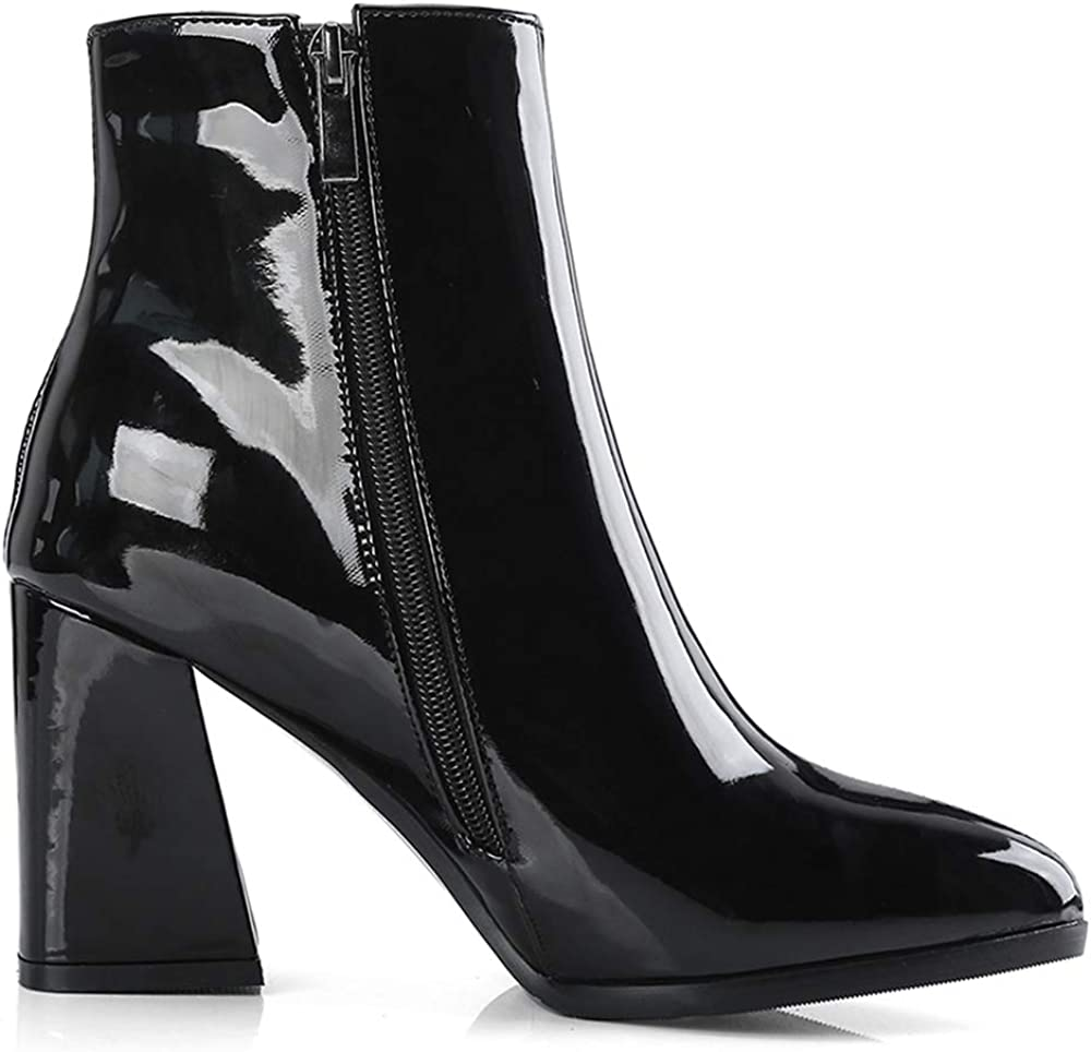 Zanpa Women Fashion Metallic Ankle Boots Zipper