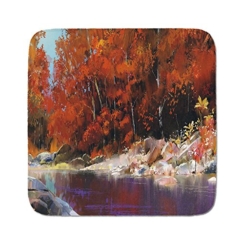 Cozy Seat Protector Pads Cushion Area Rug,Nature Decor,River with Rocks Autumn Forest Peaceful Artistic Paint of Scenic Woods Art,Ginger Purple,Easy to Use on Any Surface