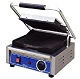 Globe Food Equip Bistro 10'' Single Panini Grill w/ Grooved Plates