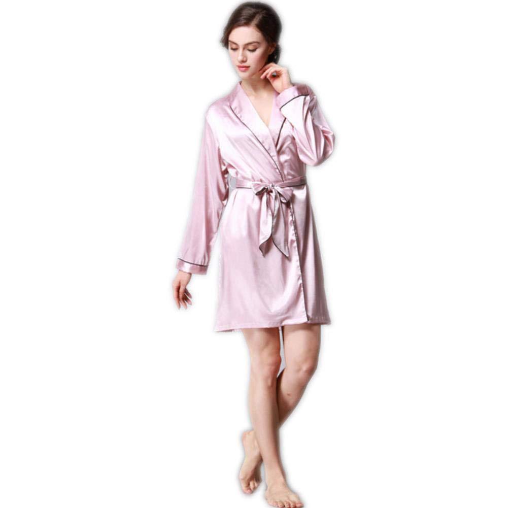 Pale Pinkish Purple Silk Pajamas Autumn Imitate Real Silk Pajamas Solid color Bath Robe Long Sleev