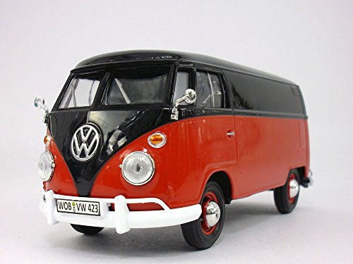 1963 Vw Bus (Volkswagen - VW - T1 Delivery Bus Van 1/24 Scale Diecast Metal Model - RED/BLACK)