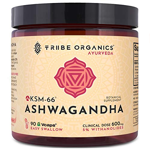 Full-Spectrum KSM-66 Ashwagandha Capsules - Pure Organic Root Extract, NO Additives - 5% Withanolides - 90 Vcaps - Stress and Anxiety Relief Adrenal Support Thyroid Support Cortisol Manager