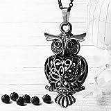 Maromalife Owl Diffuser Necklace, Essential Oil Pendant Locket Magnetic Closer, 6 Black Lava