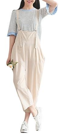 8d9f70ad908 Luodemiss Women s Comfy Linen Jumpsuit Oversized Cotton Baggy Romper Slim  Strap Shortalls M Apricot