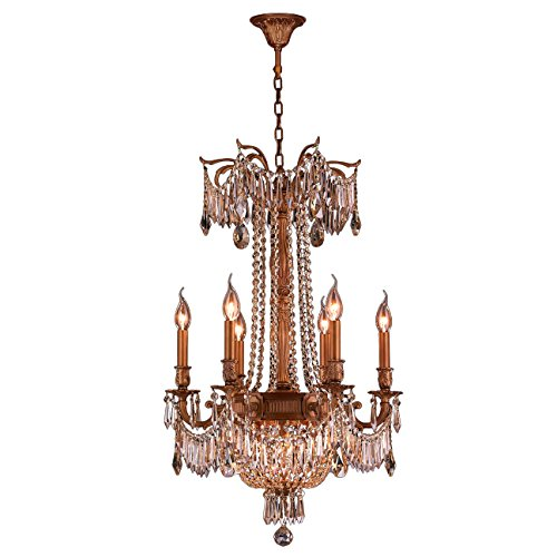 Worldwide Lighting W83356FG20-GT Winchester Collection 9 Light French Gold Finish & Golden Teak Crystal Chandelier 20 inch D x 29 inch H Medium Traditional Winchester Collection 9 Light Golden Teak Crystal Chandelier, 20