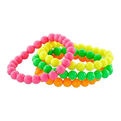 Anniston Kids Toys, 4Pcs Neon Color Bead Strand Necklaces Bracelets Jewelry Party Dress Accessories Outdoor Toys for Children Toddlers Boys Girls, 4pcs Bracelet: Toys & Games
