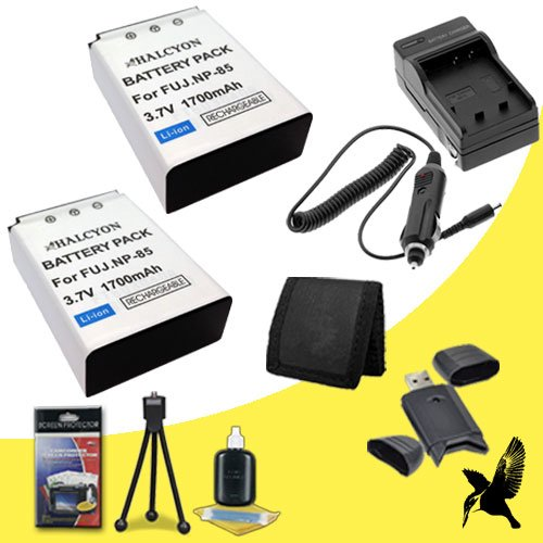 Two Halcyon 2100 mAH Lithium Ion Replacement Sony NP-BX1 Battery and Charger Kit + Memory Card Wallet + SDHC Card USB Reader + Deluxe Starter Kit for Fujifilm FinePix SL300 Digital Camera and Fujifilm NP-85 by Halcyon