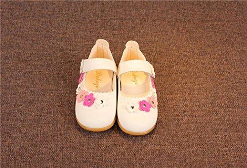 Hunpta Prinzessin Schuhe, Kinder Mädchen Blume Solide Leder Prinzessin Single Freizeitschuhe Weiß