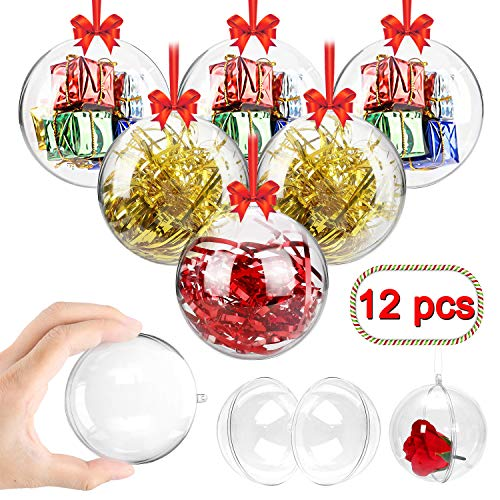 Swonuk Clear Plastic Fillable Ball Ornament Baubles, Creative Christmas Decoration Ornaments for Crafts - Pack of 12(80mm) (Plastic Clear Baubles)