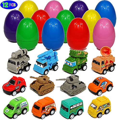 Toy Filled Easter Eggs with Large Pull-Back Vehicles Cars Trucks Tank Surprise Egg Hunt for Kids Boys and Girls (Easter Egg 1)