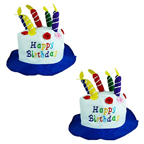 Felt Birthday Cake With Candles Hats - Hilarious Felt Birthday Cake With Candles Hats (2 Pack) -